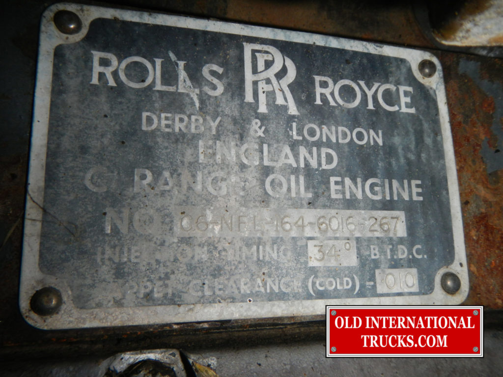 ROLLS ROYCE ID PLATE ON SIDE OF ENGINE